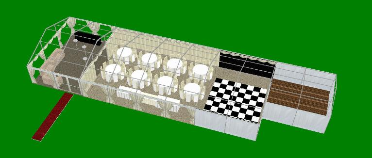 Marquee Layout 9 metre x 24 metre CAD plan