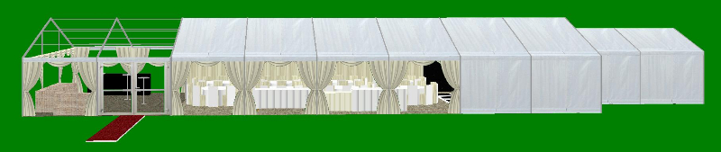 Marquee Layout 9 metre x 24 metre side view CAD plan
