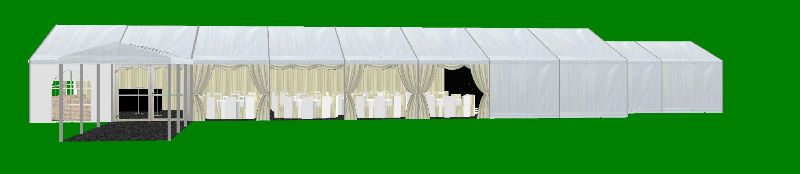 Marquee Layout 9 metre x 24 metre with covered walkway side view CAD plan