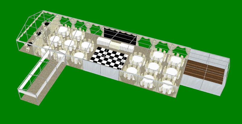 Marquee Layout 9 metre x 27 metre with central dance floor CAD plan