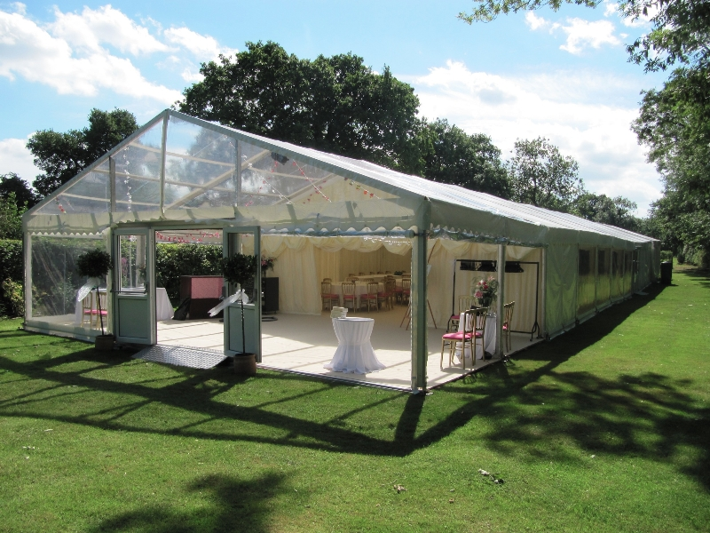 clear gable to wedding marquee