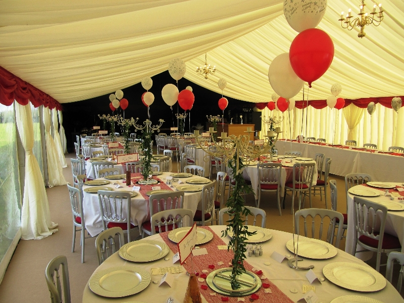 fun red wedding marquee interior