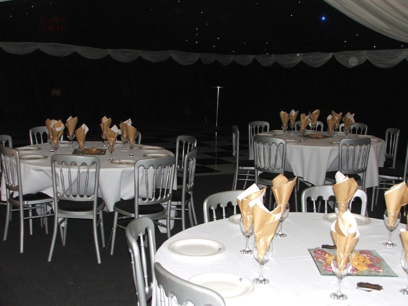 gold wedding theme marquee interior