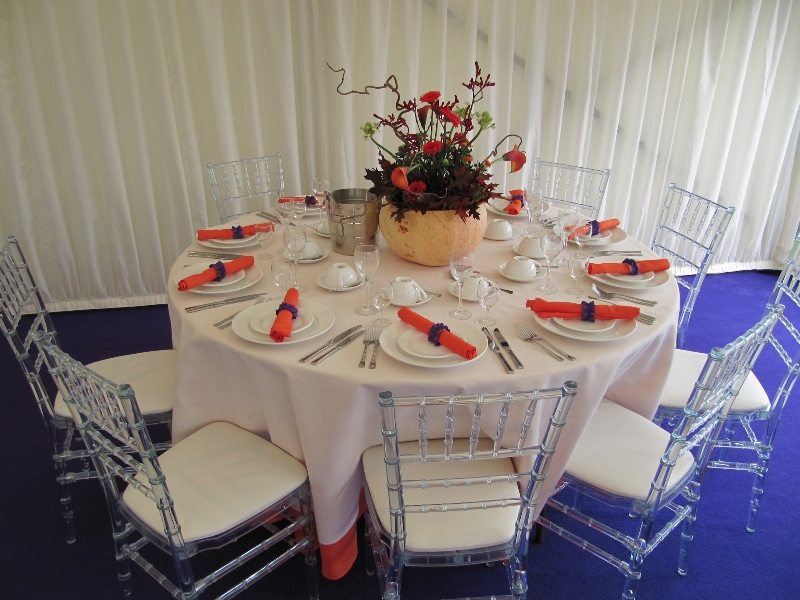 funky blue white and orange marquee decor