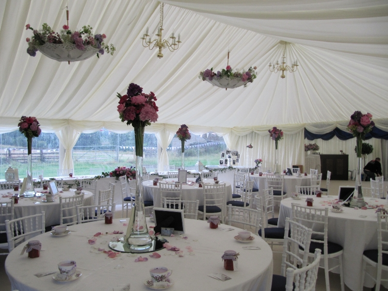 floral theme wedding marquee interior
