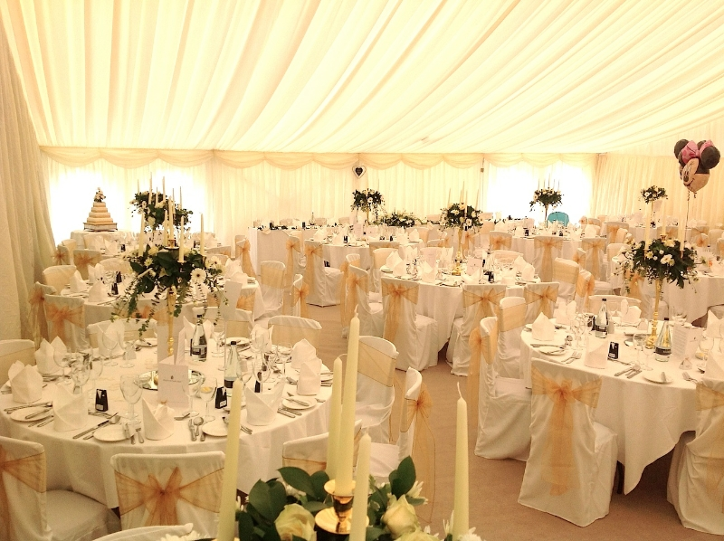 Wedding Marquee with Pleated Ivory Linings