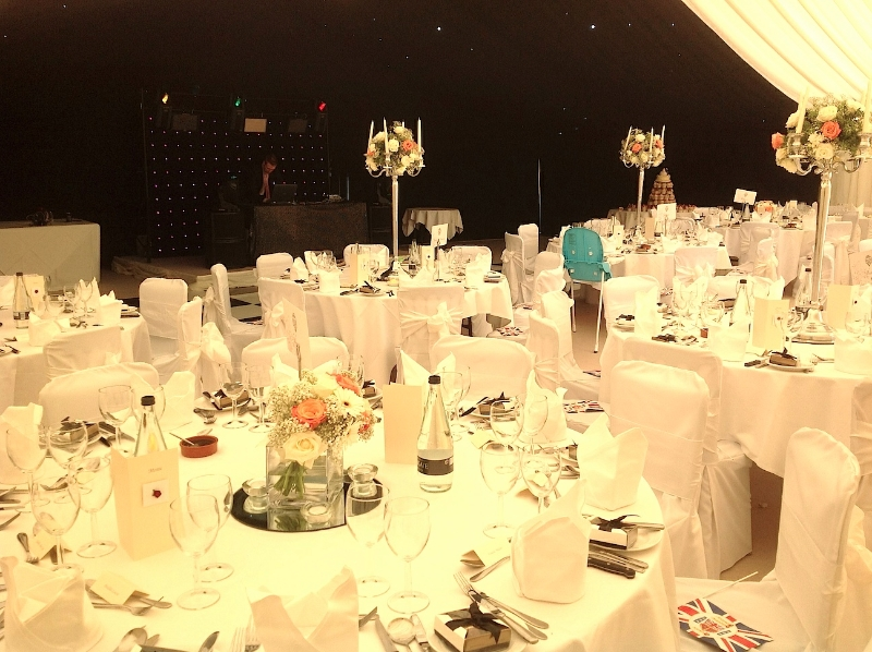 Wedding Marquee Interior with Tall Candelabras