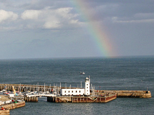 rainbow over scarborough pier
